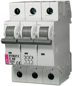Автоматичний вимикач ETI Etimat 6, 3р, 6А, C