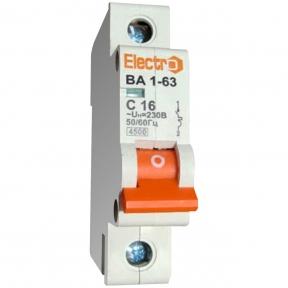 Автоматичний вимикач Electro ВА1-63, 1р, 63А, C