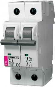 Автоматичний вимикач ETI Etimat 6, 2р, 2А, C