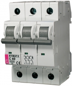 Автоматичний вимикач ETI Etimat 6, 3р, 1.6А, C
