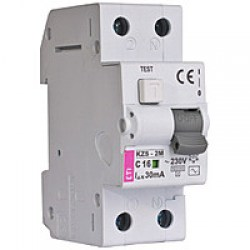 Диференційний автоматичний вимикач ETI KZS-2M, 2р, 6А, 10mA тип А, кат.С