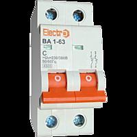 Автоматичний вимикач Electro ВА1-63, 2р, 6А, C