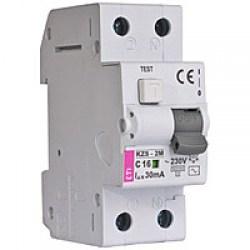 Диференційний автоматичний вимикач ETI KZS-2M, 2р, 6А, 300mA тип АС, кат.С