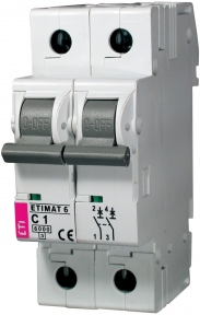 Автоматичний вимикач ETI Etimat 6, 2р, 6А, C